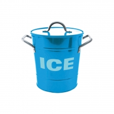 Blue Ice Bucket with Tin Scoop