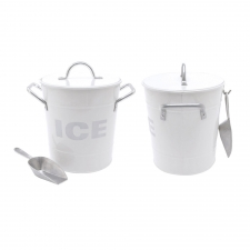 White Ice Bucket with Tin Scoop