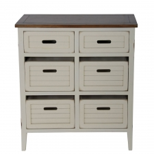 Bowman 6-Drawer Accent Stand, White/Brown