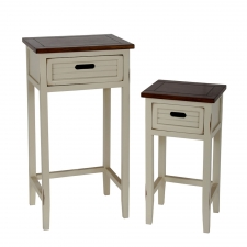 Bowman 2-Piece Accent Stands, White/Brown