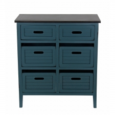 Baxley 6-Drawer Accent Stand, Green/Black