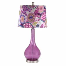 "28"" Graham Table Lamp, Purple Glass"
