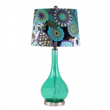 "28"" Hadwick Table Lamp, Green Glass"