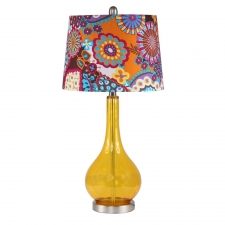 "28"" Jasper Table Lamp, Amber Glass"
