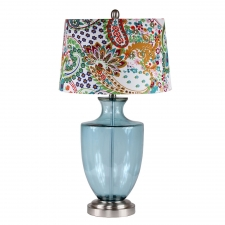 "29"" Lenox Table Lamp, Blue Glass"