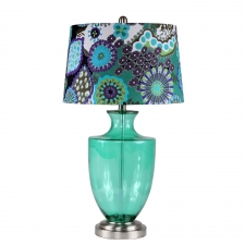 "29"" Lilly Table Lamp, Green Glass"