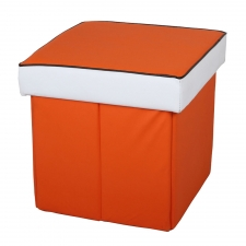"16.5"" Leather Ottoman, Orange"