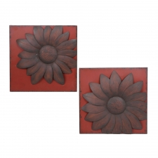 "18"" Ocilla 2-Piece Flower Metal Wall Decor"