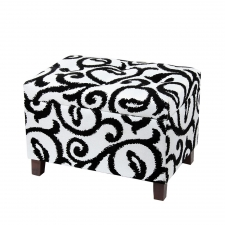 "16"" Storage Ottoman, Black/White"