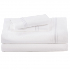 Baratto Queen Sheet Set, White Stripes