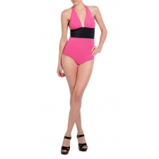 Black & Pink Halter One Piece Medium