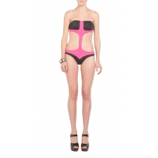 Black & Pink MIA T-Strap One Piece Medium