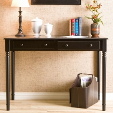 Whitehall 2-Drawer Writing Desk, Satin Black
