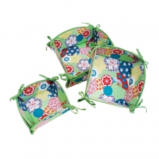 S/3 Nesting Baskets, Green Blossom made by Patterned Travel Gear .