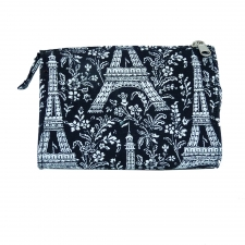 Large Cosmetic Bag, Paris Noir made by Patterned Travel Gear .
