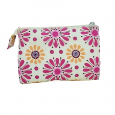 Large Cosmetic Bag, Pink Daisy made by Patterned Travel Gear .