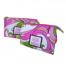 Small Cosmetic Bag, Pink Poochi made by Patterned Travel Gear .