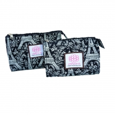 Small Cosmetic Bag, Paris Noir made by Patterned Travel Gear .