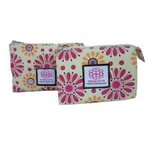 Small Cosmetic Bag, Pink Daisy made by Patterned Travel Gear .