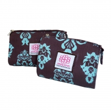 Small Cosmetic Bag, Blue Pineapple made by Patterned Travel Gear .