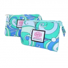 Small Cosmetic Bag, Blue Poochi made by Patterned Travel Gear .