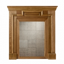Cordele Mirrored Mantel Façade, Weathered Oak