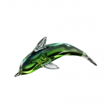 Oysterville Art Glass Green Dolphin