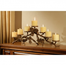 7-Candle Pine Cone Mantelpiece