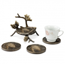 Set of 4 Pine Cone and Branch Coasters