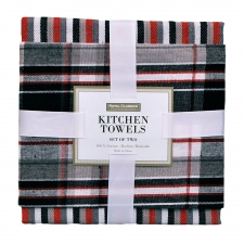 Black Plaid Kitchen Towel Set