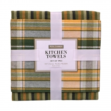 Green Plaid Kitchen Towel Set