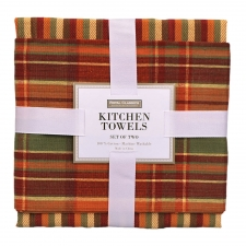 Orange Plaid Kitchen Towel Set