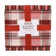 Red Plaid Kitchen Towel Set
