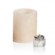 "Set of 2 3"" x 3"" Solid Flameless Candles, Cream"