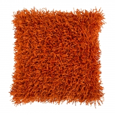 "18"" x 18"" Shag Pillow, Burnt Orange"