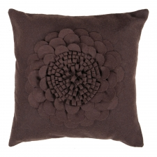 "18"" x 18"" Single Flower Pillow, Espresso"