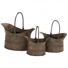 Set of 3 Rustic Wash Metal Planters, Brown