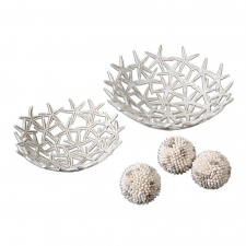 Starfish Bowls with Shell Spheres, Set of 5