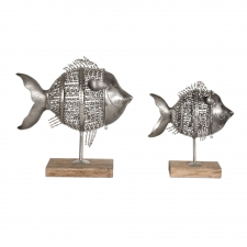 Twisted Iron Fish Sculptures, Set of 2