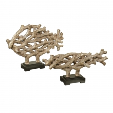 Woven Vines Fish Sculptures, Set of 2