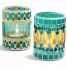 Mosaic Glass Votives, Set of 2 made by Garden Party Hostess.